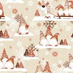 Tkanina Wzór świąteczny skrzaty z reniferem brązowo beżowe na beżowym tle