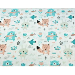 Tkanina Flanela zwierzątka na łące morelowo miętowe na białym