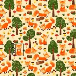 Tkanina w liski w lesie na ecru tle