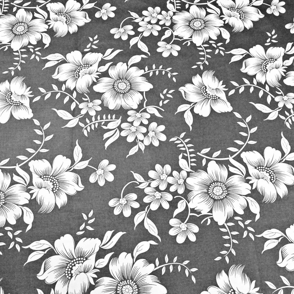 Tkanina w kwiaty białe na szarym tle