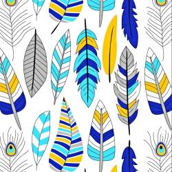 Tkanina w piórka niebiesko turkusowo żółte na białym tle