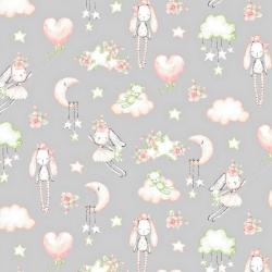 Tkanina w przytulanki różowo zielone na szarym tle