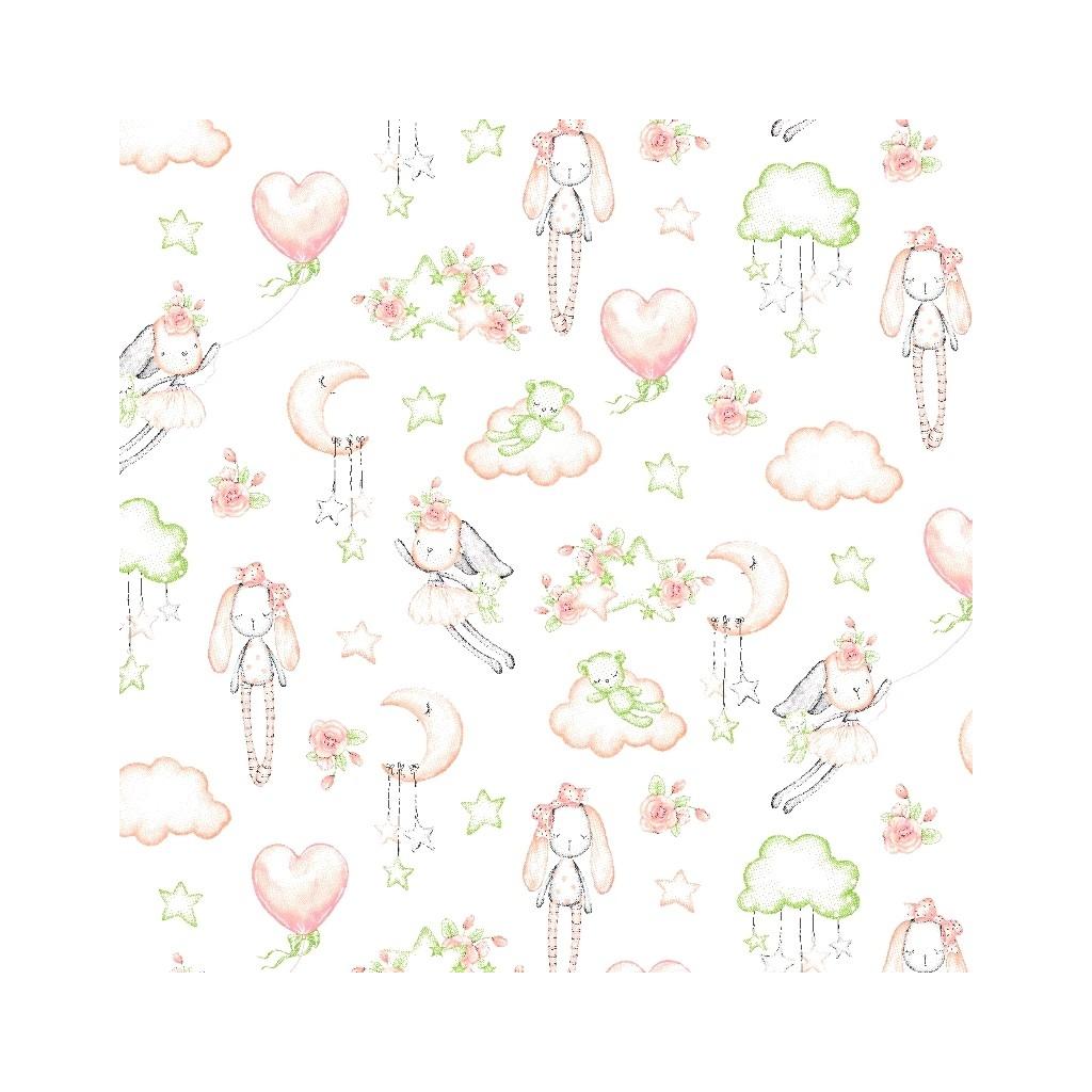 Tkanina w przytulanki różowo zielone na białym tle