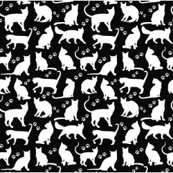 Tkanina w kotki kontury białe na czarnym tle