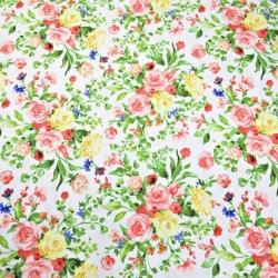 Tkanina w kwiaty bukiety kolorowe na białym tle 220cm