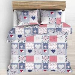 Tkanina w patchwork kwiatowy niebiesko różowy