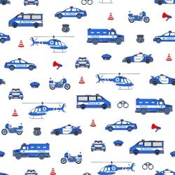 Tkanina Policja niebieska na białym tle