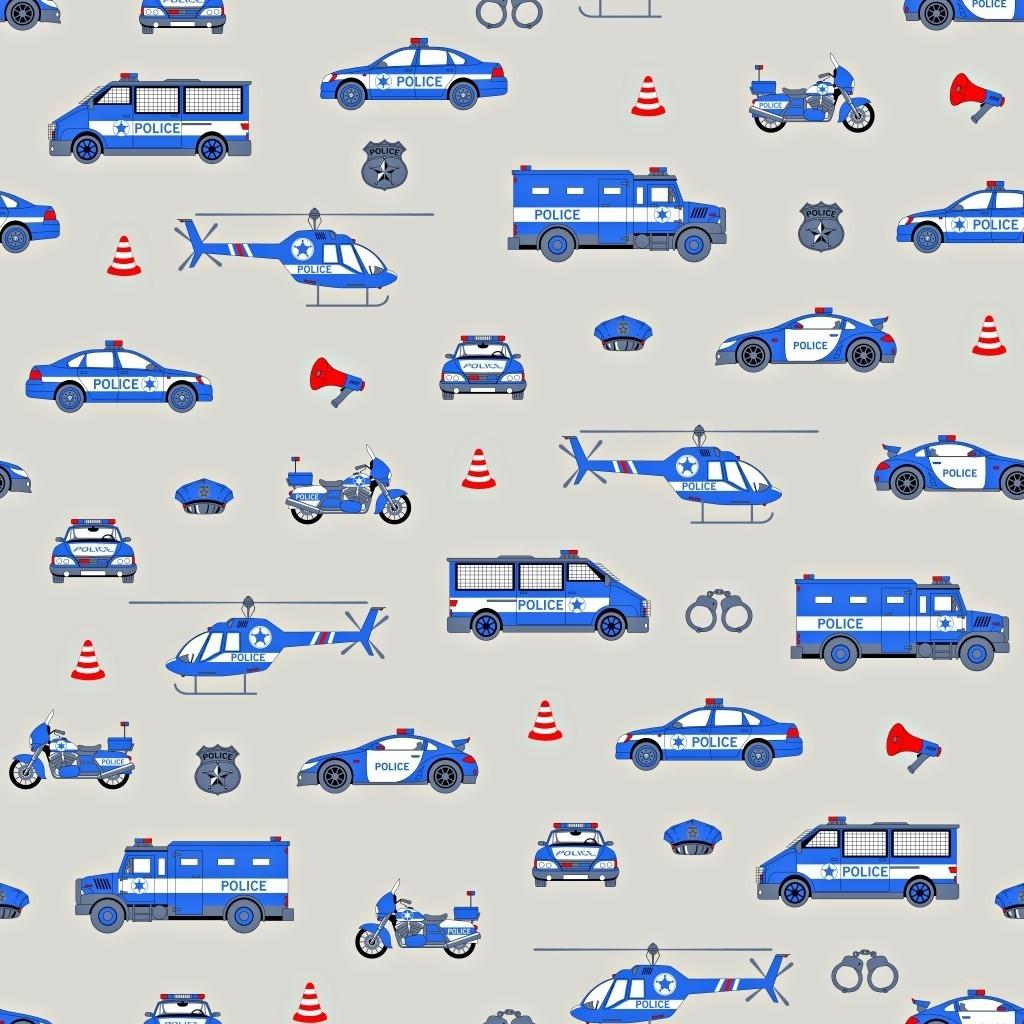 Tkanina Policja niebieska na szarym tle