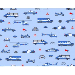 Tkanina Policja niebieska na niebieskim tle