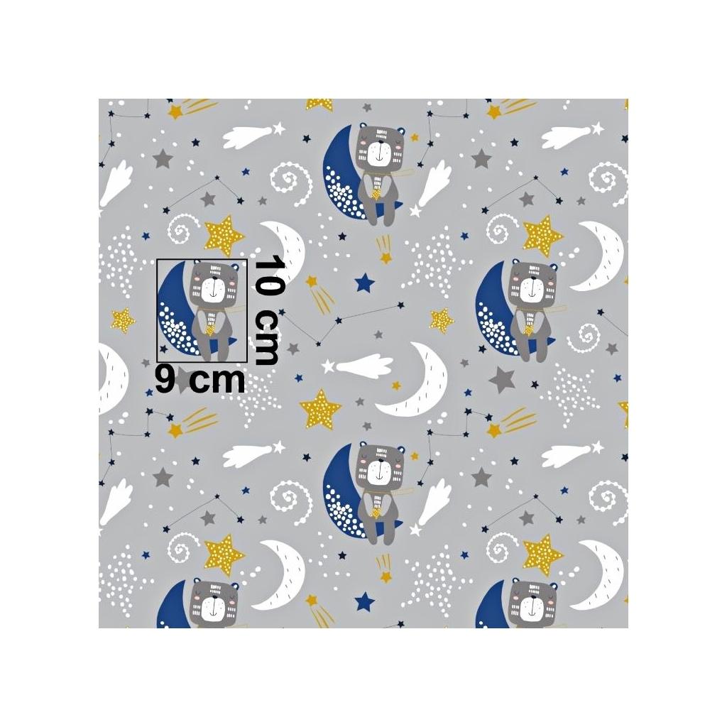 Tkanina misie na księżycu na szarym tle