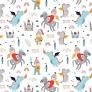 Tkanina w rycerze i smoki kolorowe na białym tle