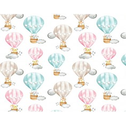 Tkanina w zwierzęta w pastelowych balonach na białym tle