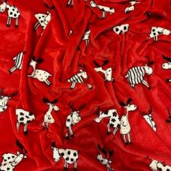 Tkanina Polar plus łosie na czerwonym tle