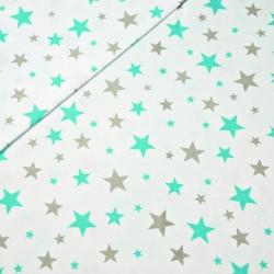 Tkanina w gwiazdki nowe małe i duże szaro miętowe na białym tle