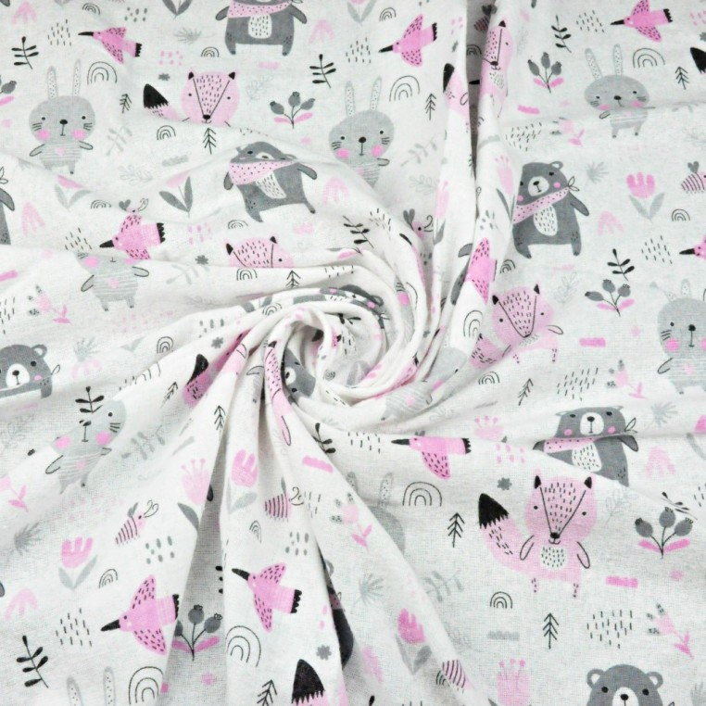 Tkanina Flanela zwierzątka na łące szaro różowe na białym