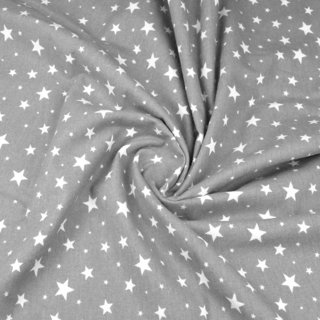 Tkanina Flanela w gwiazdki białe na szarym tle