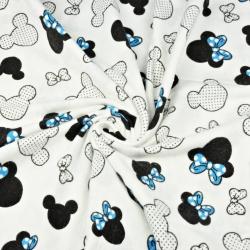 Tkanina Flanela Miki z niebieską kokardą na białym tle