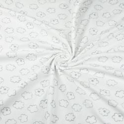 Dzianina bawełniana Jersey chmurki szare na białym tle