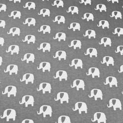 Dzianina bawełniana Jersey słoniki białe na szarym tle