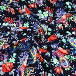 Dzianina bawełniana Jersey kolorowe kwiaty na granatowym tle