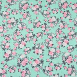 Imagén: Dzianina bawełniana Jersey różyczki różowe na miętowym tle