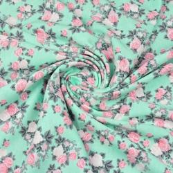 Dzianina bawełniana Jersey różyczki różowe na miętowym tle