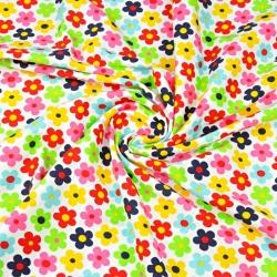 Dzianina bawełniana Jersey kolorowe kwiatki na białym tle