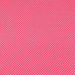 Dzianina bawełniana Jersey kropki białe na różowym tle