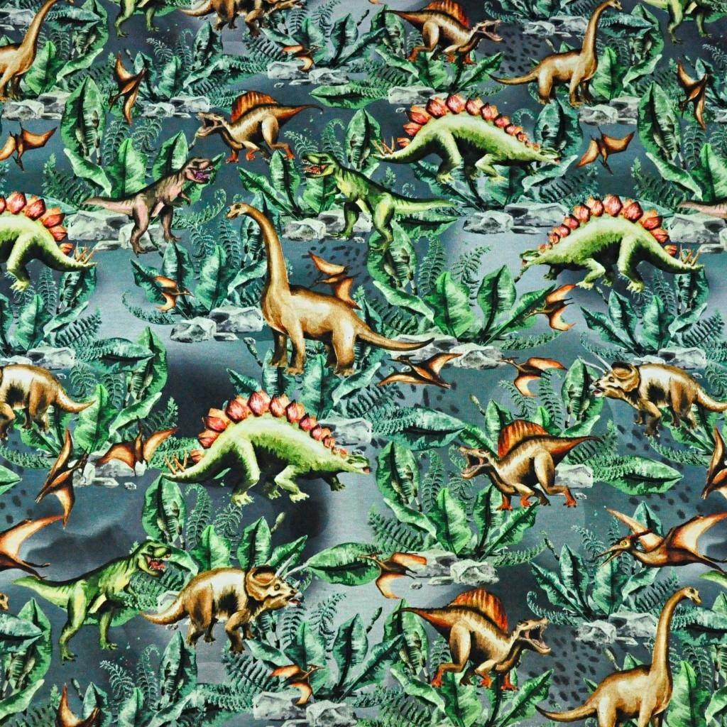 Jersey druk cyfrowy dinozaury na szaro zielonym tle
