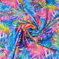 Dzianina bawełniana Jersey druk cyfrowy liście kolorowe