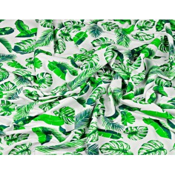 Dzianina bawełniana Jersey liście zielone na białym tle