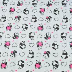 Dzianina bawełniana Jersey pandy z serduszkami na białym tle