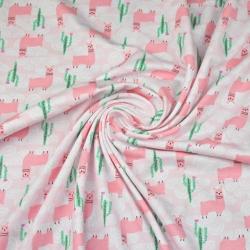 Dzianina bawełniana Jersey różowe alpaki na różowym tle