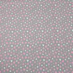 Dzianina bawełniana Jersey różowo białe serduszka na szarym tle