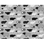 Tkanina w owieczki rysowane czarne na szarym tle