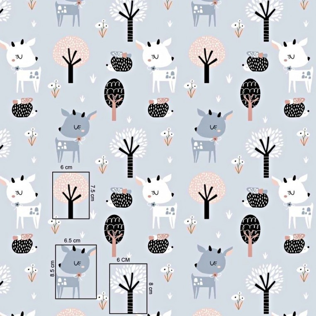 Bawełna sarenki biało szare z drzewkami na szarym tle