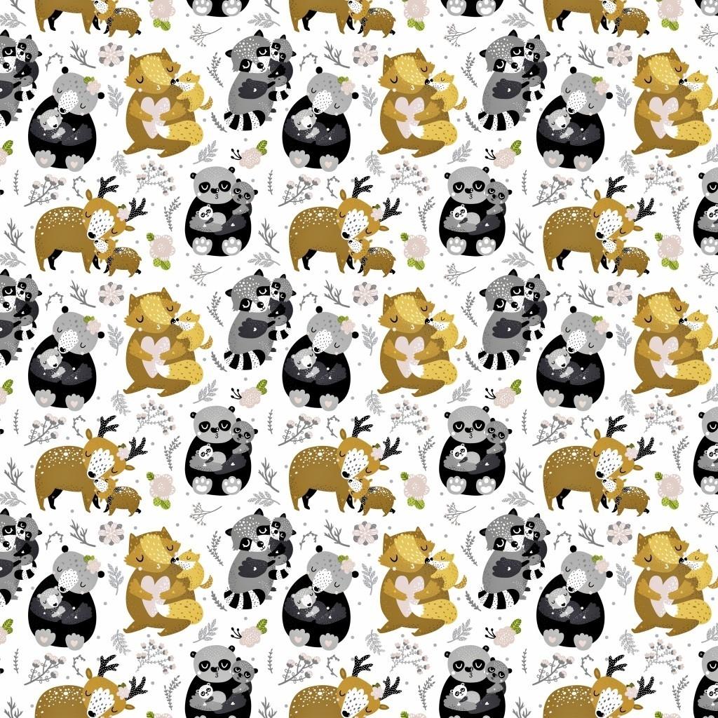 Tkanina w zwierzęta rodzinki szaro beżowe na białym tle