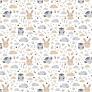 Tkanina w sówki z króliczkami beżowo niebieskie na białym tle