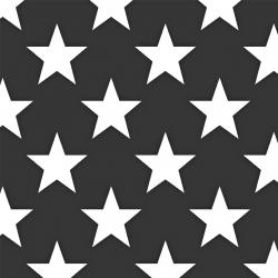 Tkanina w gwiazdy 90mm białe na grafitowym tle