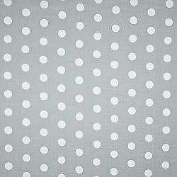 Tkanina w grochy duże białe na szarym tle