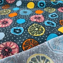 Dzianina bawełniana Jersey kolorowe cytryny na niebiesko szarym