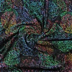 Dresówka z pętelką bańki kolorowe na czarym tle - druk cyfrowy