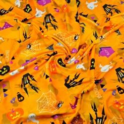 Dzianina bawełniana Jersey druk cyfrowy - halloween na pomarańczowym tle