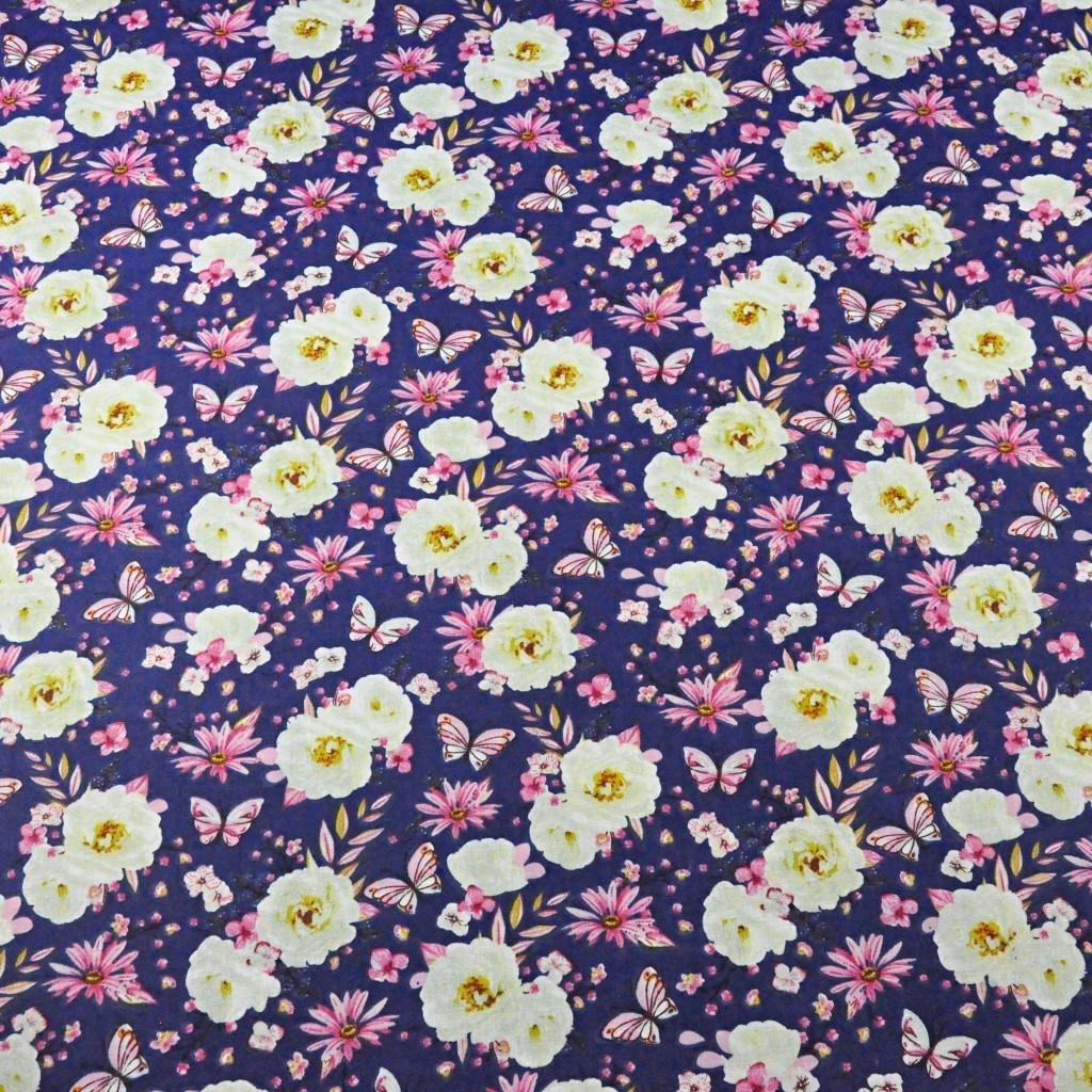 Tkanina w kwiaty z motylkami na granatowy tle - 220cm