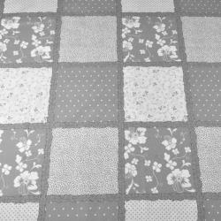 Tkanina w patchwork kwiaty kropki szaro biały