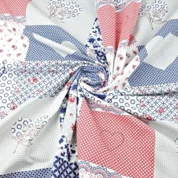Tkanina w patchwork kwiatowy niebiesko czerwony