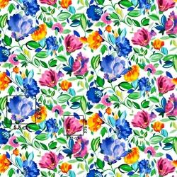 Tkanina kwiaty chabrowe na białym tle - 220 cm