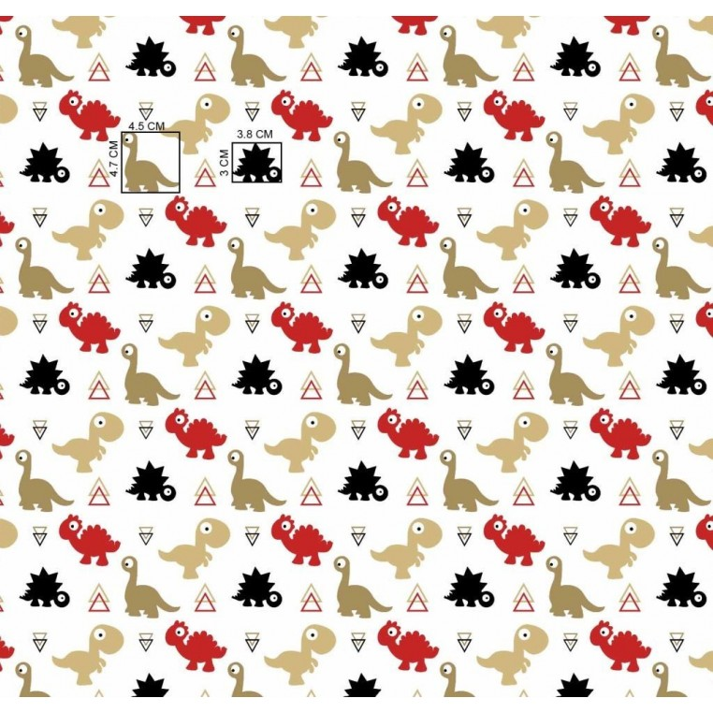 Tkanina dinozaury czerwono beżowe na białym tle