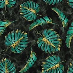 Imagén: Dzianina bawełniana Jersey druk cyfrowy - Liście monstera zielono złote na czarnym marmurowym tle