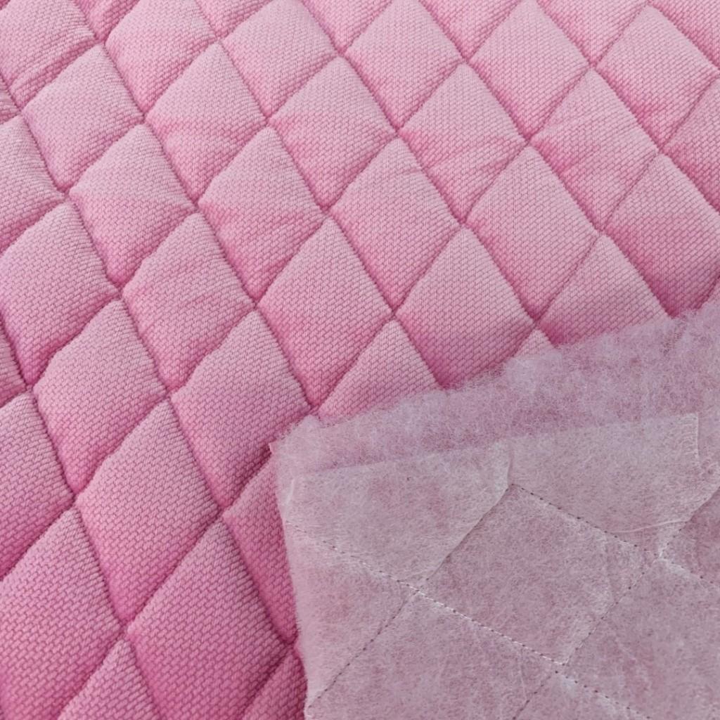 Velvet pikowany pikowany jasny różowy 3 - romby